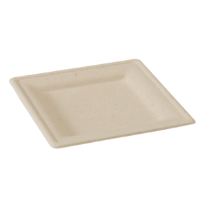 Piatto in polpa marrone quadrato mis. 20x20 cm-0